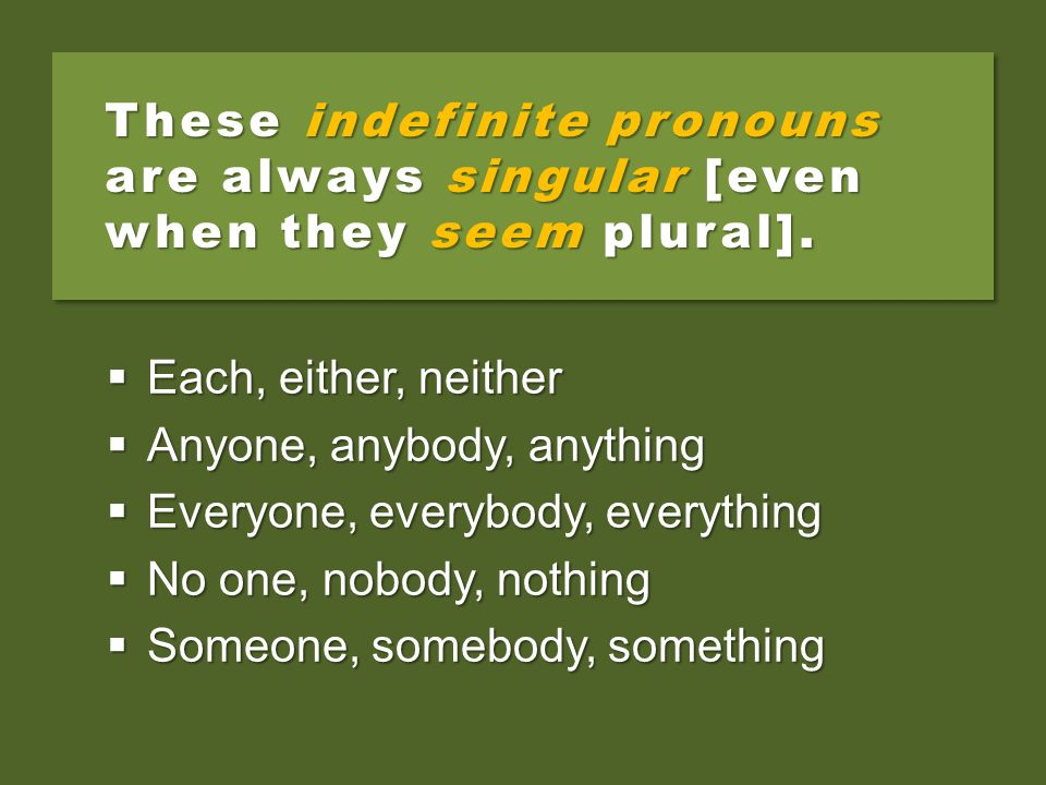 These indefinite pronouns are always singular [even when they seem plural].